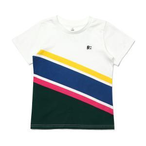 사선컬러블럭티셔츠